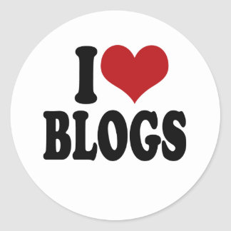I Love blogs Classic Round Sticker