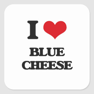 I Love Blue Cheese Square Stickers