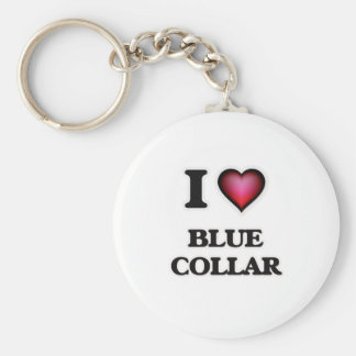 I Love Blue-Collar Keychain