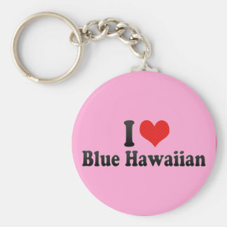I Love Blue Hawaiian Basic Round Button Keychain