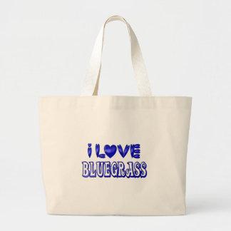 I Love Bluegrass Large Tote Bag