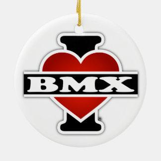 I Love BMX Round Ceramic Ornament