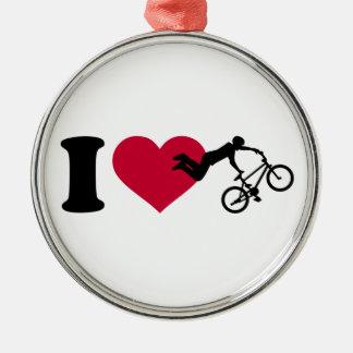 I love BMX Silver-Colored Round Ornament