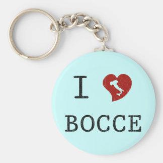 I Love Bocce Basic Round Button Keychain
