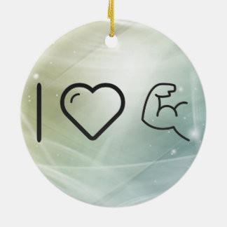 I Love Body Buildings Ceramic Ornament