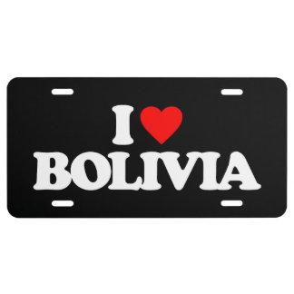I LOVE BOLIVIA LICENSE PLATE