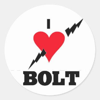 i love bolt classic round sticker