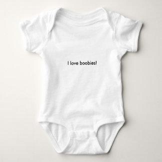 I love boobies! breastfeeding joke baby bodysuit