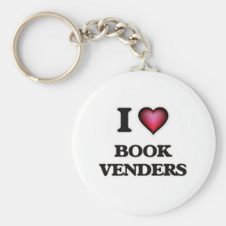I Love Book Venders Basic Round Button Keychain