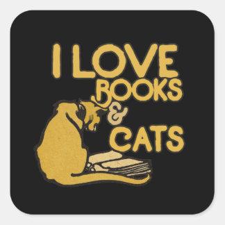 I love books and cats square sticker