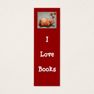 I LOVE BOOKS BOOKMARK WITH PIGGY MINI BUSINESS CARD