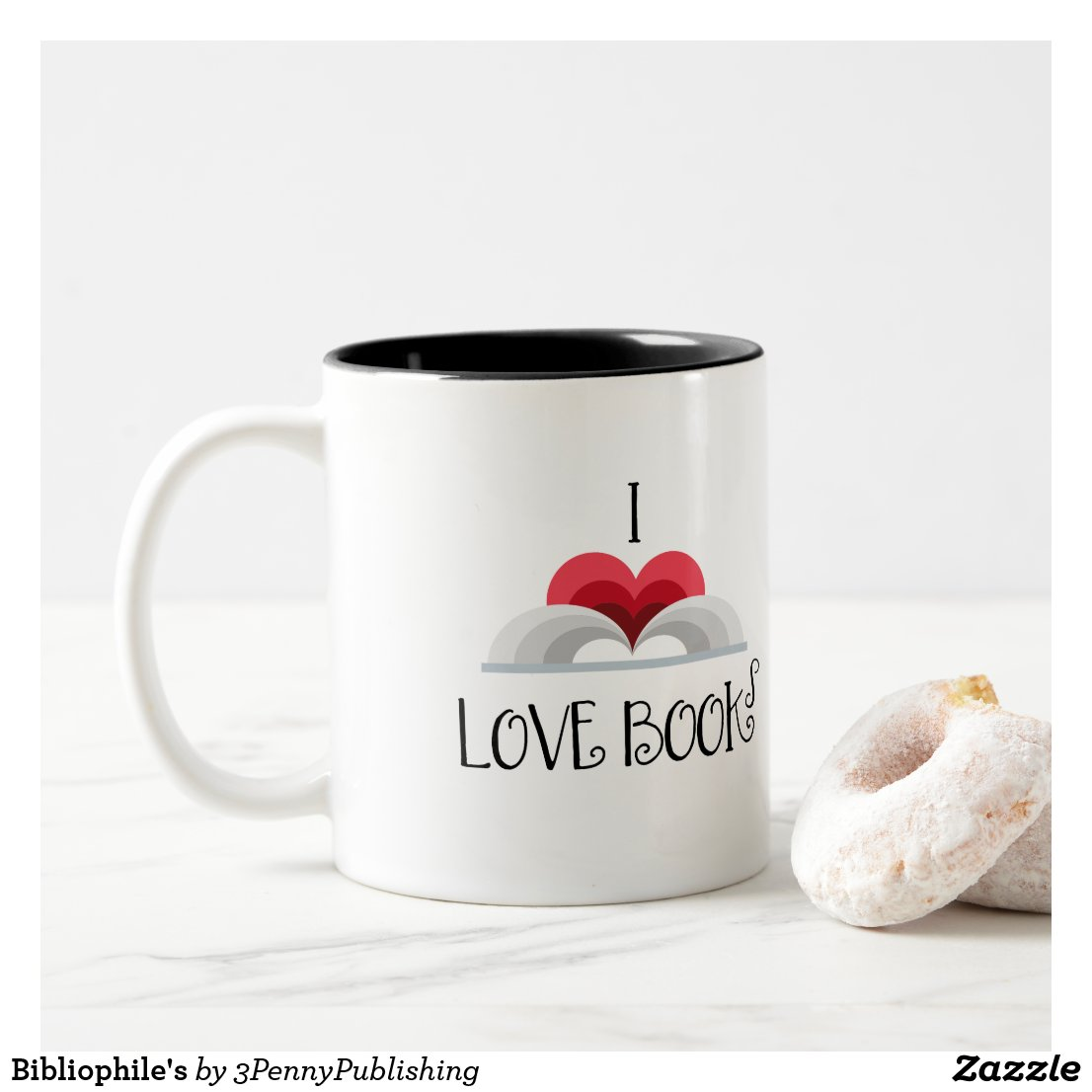 I Love Books (open book in heart shape) coffee mug gift for book lovers
