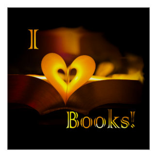 I Love Books - I Heart Books Candlelight Poster
