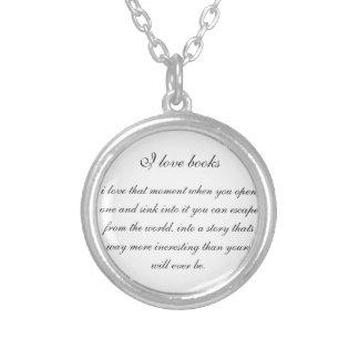 I love books, silver necklace