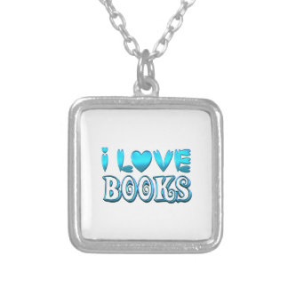 I Love Books Silver Plated Necklace
