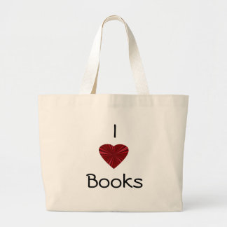 I Love Books-with Red Heart Large Tote Bag