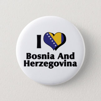 I Love Bosnia & Herzegovina Flag 2 Inch Round Button