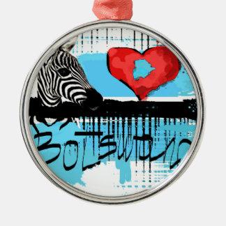 I love Botswana Metal Ornament