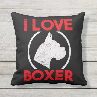 I LOVE BOXER THROW PILLOW