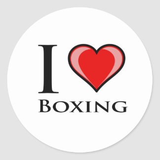 I Love Boxing Classic Round Sticker
