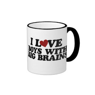 I love boys with big brains mugs
