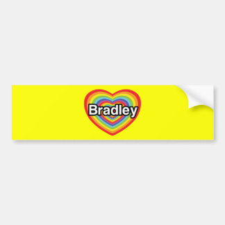 I love Bradley: rainbow heart Bumper Stickers