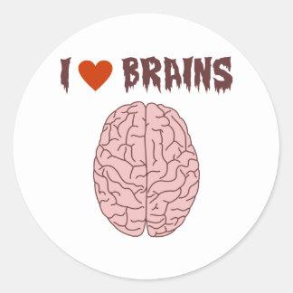 I Love Brains Classic Round Sticker