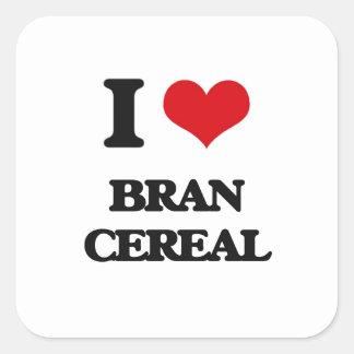 I Love Bran Cereal Square Sticker