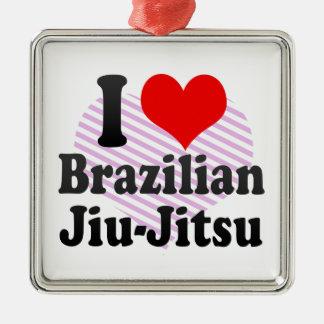 I love Brazilian Jiu-Jitsu Silver-Colored Square Ornament