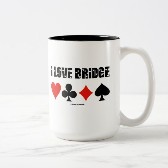 I Love Bridge (Four Card Suits) Two-Tone Coffee Mug