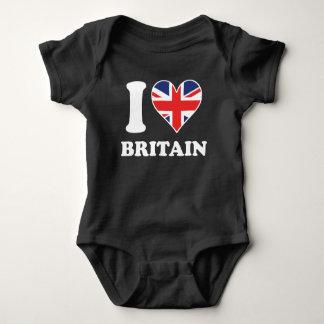 I Love Britain British Flag Heart Baby Bodysuit