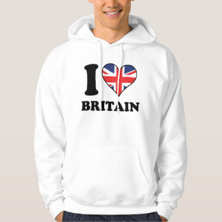 I Love Britain British Flag Heart Hoodie
