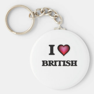 I Love British Basic Round Button Keychain
