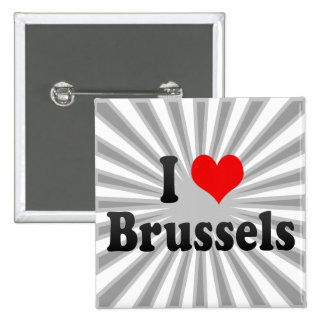 I Love Brussels, Belgium 2 Inch Square Button