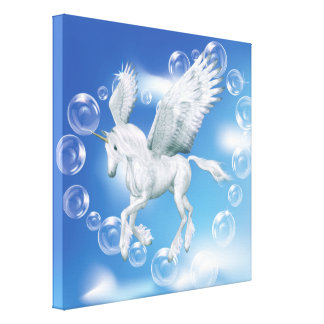 I Love Bubbles Unicorn Pegasus Canvas Print