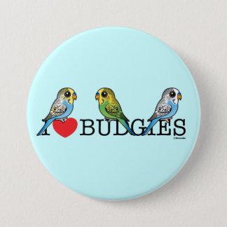 I Love Budgies 3 Inch Round Button