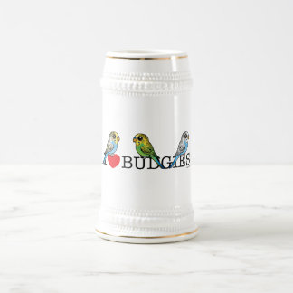 I Love Budgies Beer Stein