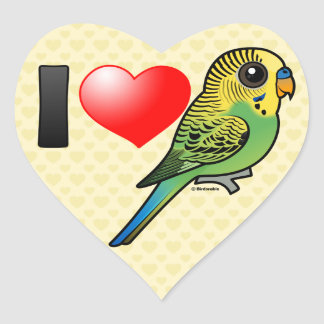 I Love Budgies Heart Sticker