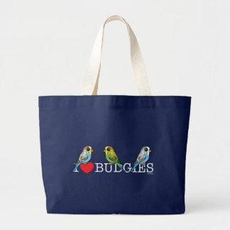 I Love Budgies Large Tote Bag