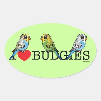 I Love Budgies Oval Sticker