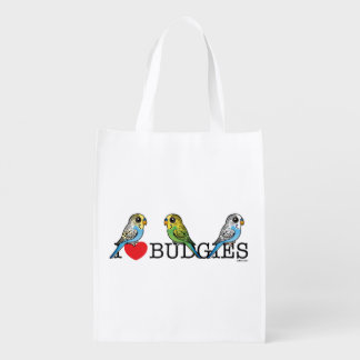 I Love Budgies Reusable Grocery Bag
