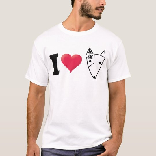 I Love Bull Terrier Black T-Shirt