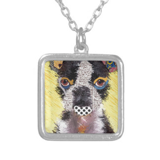 I love bulldog silver plated necklace