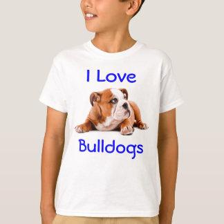 I Love Bulldogs Kids Tee Shirt (Fits boys also)