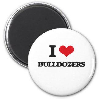 I love Bulldozers 2 Inch Round Magnet