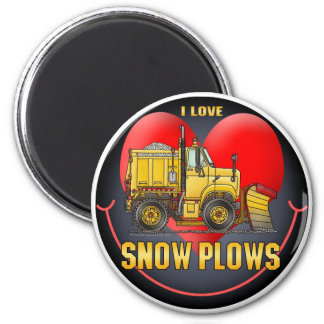 I Love Bulldozers Round Magnet
