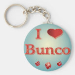 I Love Bunco in Red with red dice Keychains