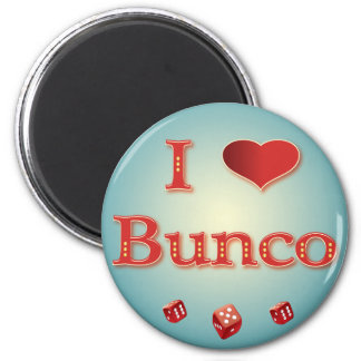 I Love Bunco in Red with red dice Magnet