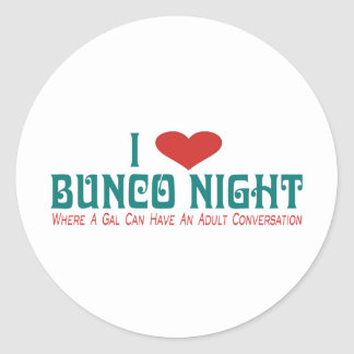 i love bunco night round sticker