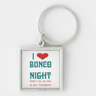 i love bunco night Silver-Colored square keychain